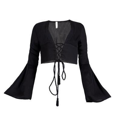 lace tie up long sleeves crop top black